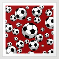 soccer Art Prints featuring Soccer by joanfriends