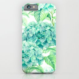 Hand painted green watercolor hydrangea floral pattern iPhone Case