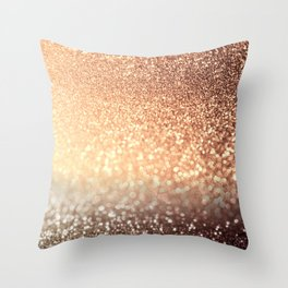 Cozy Copper Espresso Brown Ombre Autumnal Mermaid Glitter Throw Pillow