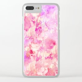 Girly Pink and Purple Painted Sparkly Watercolor Clear iPhone Case