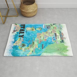 Italy Illustrated Travel Poster Favorite Map Tourist Highlights Rug