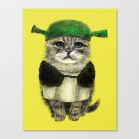 shrek Canvas Prints featuring Shreky Cat by Anna Shell