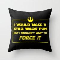 pun Throw Pillows featuring Intergalactic Pun by Ninja Klee