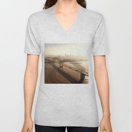 Hernando de Soto Bridge in Memphis Unisex V-Neck