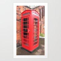 red phone call box london Art Print