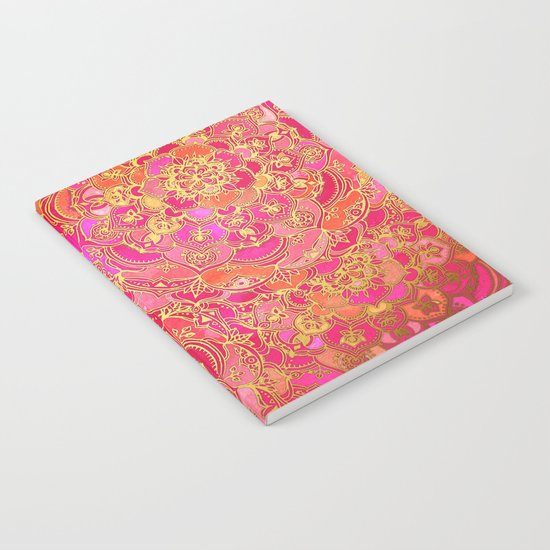 Hot Pink and Gold Baroque Floral Pattern Notebook