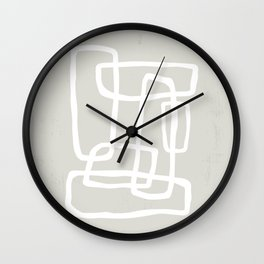 Abstract Interlocking Shapes No. 1 in Neutral Beige and White Wall Clock