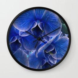 Royal Blue Hyacinth Jeweled Exotic Orchid Wall Clock