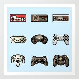 Retro Game Controllers Light Blue Art Print