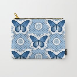 Chinoiseries Porcelain Butterfly Blue Carry-All Pouch
