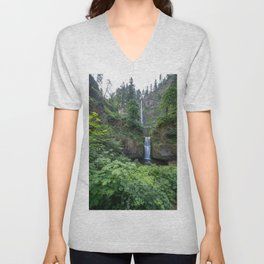 Multnomah Falls in the Columbia River Gorge in Oregon Unisex V-Neck