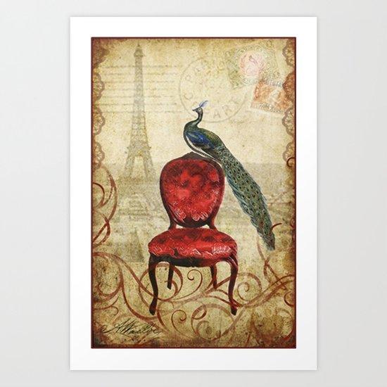 Peacock in Paris Art Print