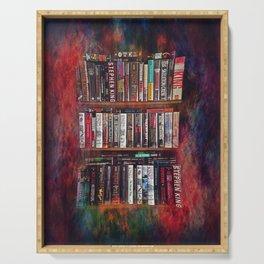 Stephen King Books on Shelves Serving Tray