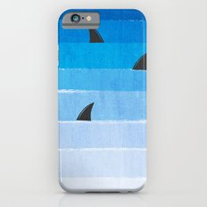 Sharks - shark week trendy black and white minimal kids pattern print ombre blue ocean surfing  iPhone 6 Slim Case