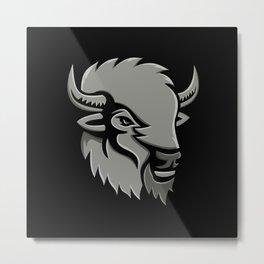American Bison Head Metallic Icon Metal Print