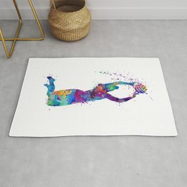Volleyball Girl Setter Colorful Watercolor Art Rug
