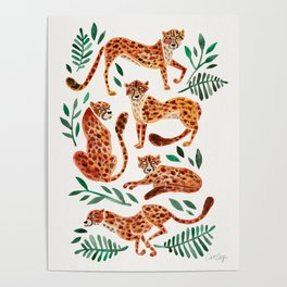 Cheetah Collection – Orange & Green Palette Poster