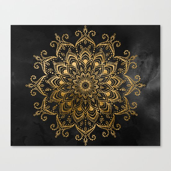 Black and Faux Gold Tapestry Canvas Print