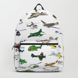Various Colorful Airplanes and Helicopters Backpack