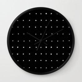 Dot Grid White on Black Wall Clock