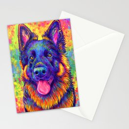 Luminescent - Psychedelic German Shepherd Dog Stationery Cards