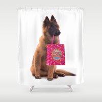 birthday Shower Curtains featuring Birthday dog by AvHeertum