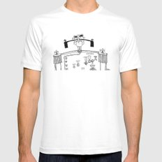 General Mustache White MEDIUM Mens Fitted Tee
