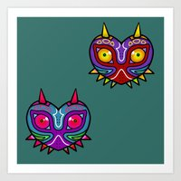 majora Art Prints featuring Majora Inspired Mask by Clover
