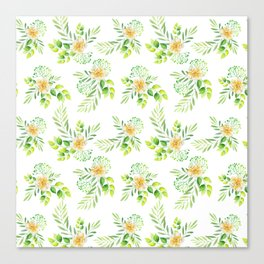 Elegant yellow green watercolor hand painted camellia pattern Canvas Print