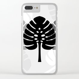 Tropical leaves in grey Clear iPhone Case