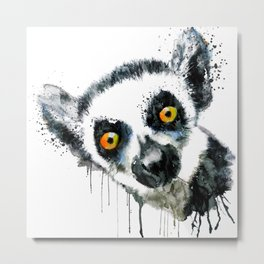 Lemur Head Metal Print