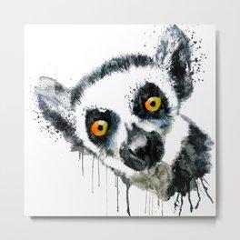 Lemur Head Metal Print