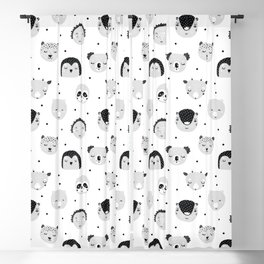 black and white Scandi Animals Prints patterns Blackout Curtain