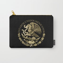 Mexican flag seal in sepia tones on black bg Carry-All Pouch