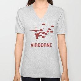 Airborne Jump (Airborne Red) Unisex V-Neck