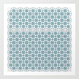 Portuguese Tiles of the Algarve in White with Glitch Art Print