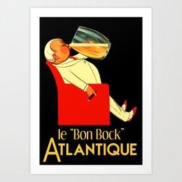 Retro French beer ad Le Bon Bock Art Print