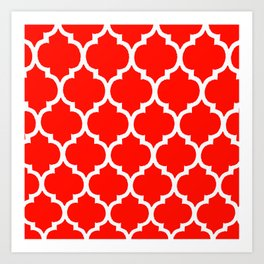 MOROCCAN RED AND WHITE PATTERN Art Print