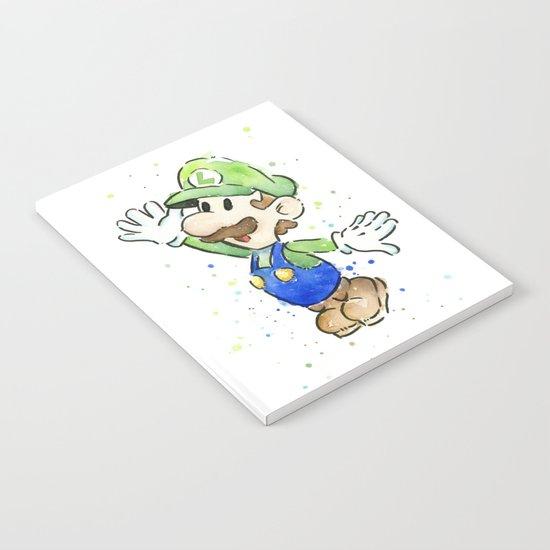 Luigi Watercolor Mario Nintendo Art Notebook