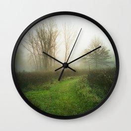 Beautiful Morning - Autumn Field in Fog Wall Clock