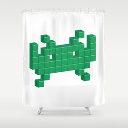 3D Space Invader Pixel Monster Greeen Shower Curtain