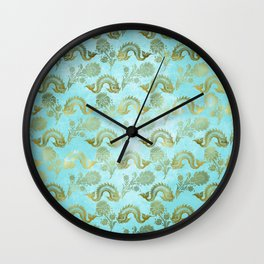 Mermaid Ocean Whale Friends - Teal And Gold Pattern Wall Clock