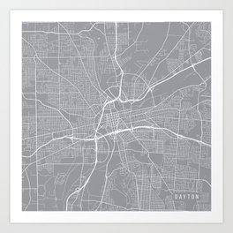 Dayton Map, Ohio USA - Pewter Art Print