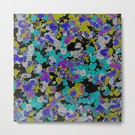 Dark Splatter - Abstract, paint splatter pattern in black, cyan, yellow, white and green Metal Print