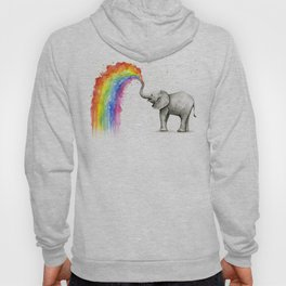 Baby Elephant Spraying Rainbow Whimsical Animals Hoody