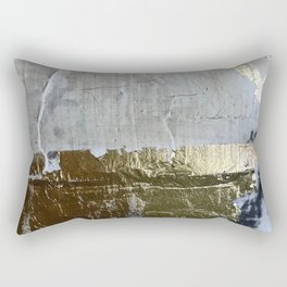 Elegantly Rough: an abstract, minimal piece in gold, pink, black and white by Alyssa Hamilton Art Rectangular Pillow