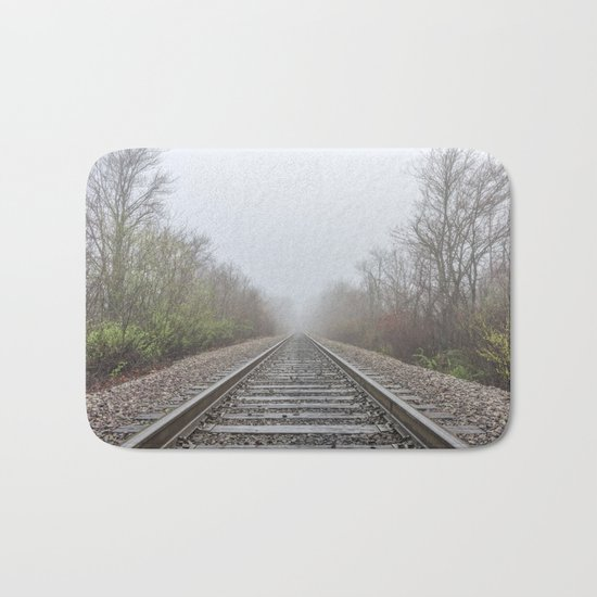 Spring time railroad tracks Bath Mat