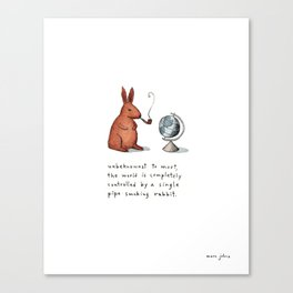 Pipe-smoking rabbit Canvas Print