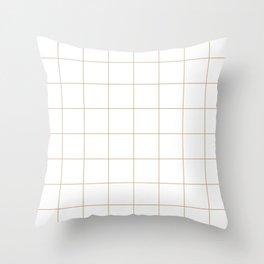 Graph Paper (Tan & White Pattern) Throw Pillow
