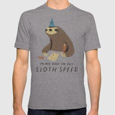 sloth speed Tri-Grey Mens Fitted Tee LARGE